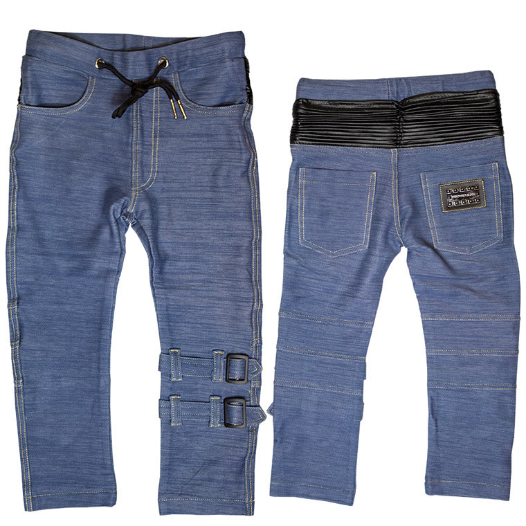The M-502 - Ultra Soft Straps Denim Pants - Blue