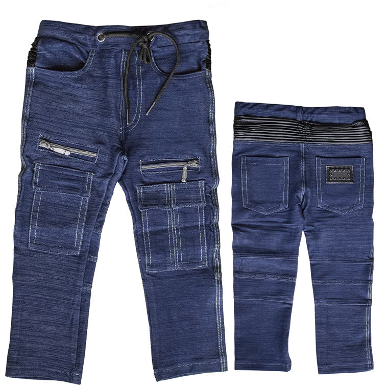 The M-504 - Zippers & Pockets Denim Cargo Pants - Blue