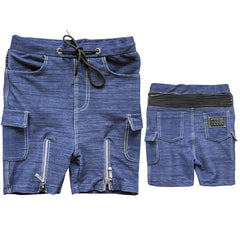 The M-505 - Denim Zipper Short Cargo Pants - Blue