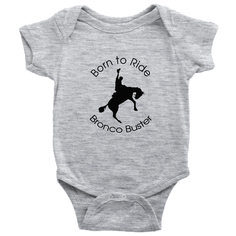 Born to Ride Bronco Buster Bodysuit - Heather Gray