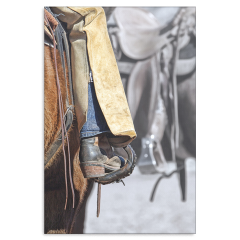Rugged Rider Leather Chaps and Real Western Boots Canvas Print.