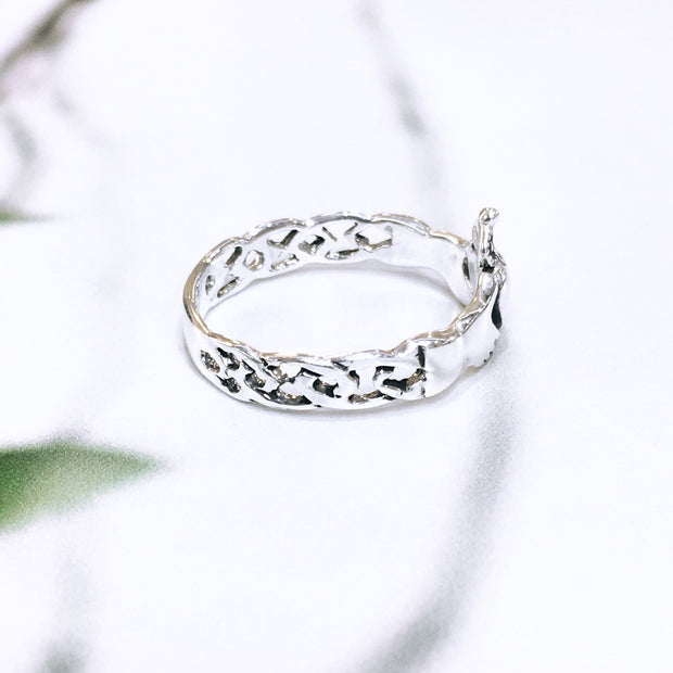 Sterling Silver Knotwork Claddagh Ring