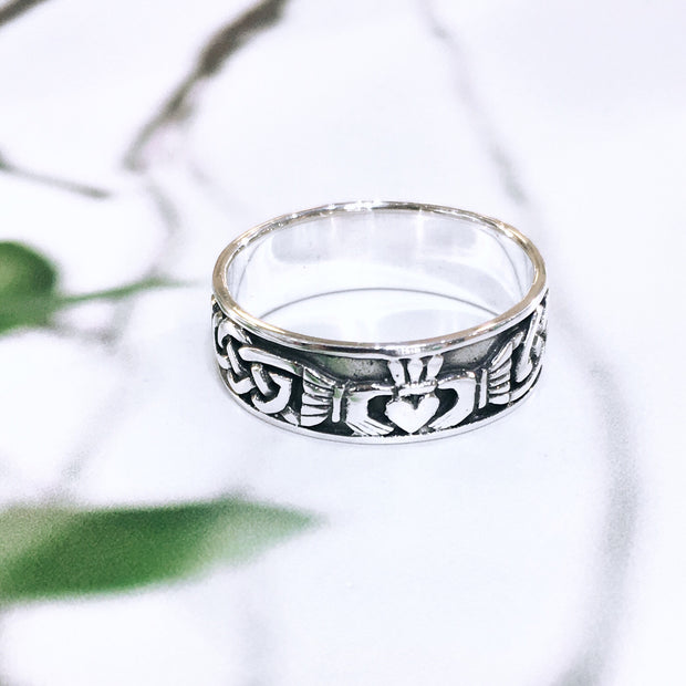Sterling Silver Mans Claddagh Band