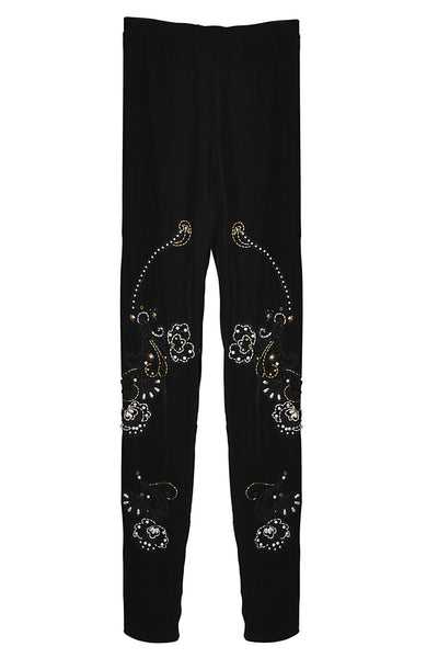 BEBAROQUE PRISCILLA Black Velvet Embroidered Leggings