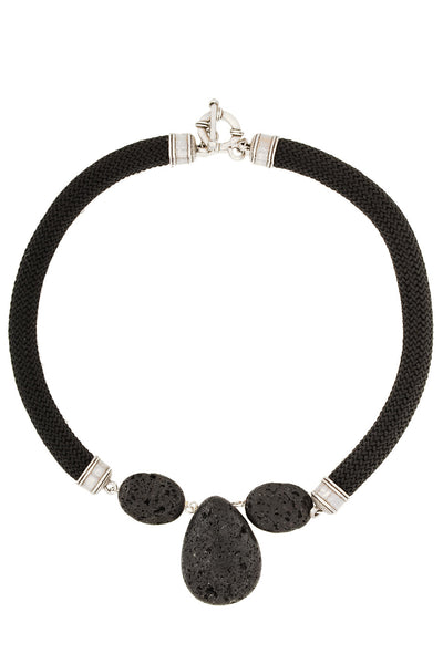 BEHIND THE ROPES LIVANA Black Lava Stone Necklace