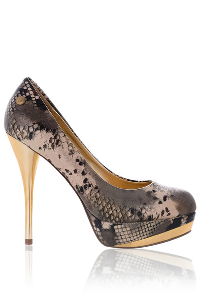 BLINK ELSIE Metallic Snakeskin Pumps