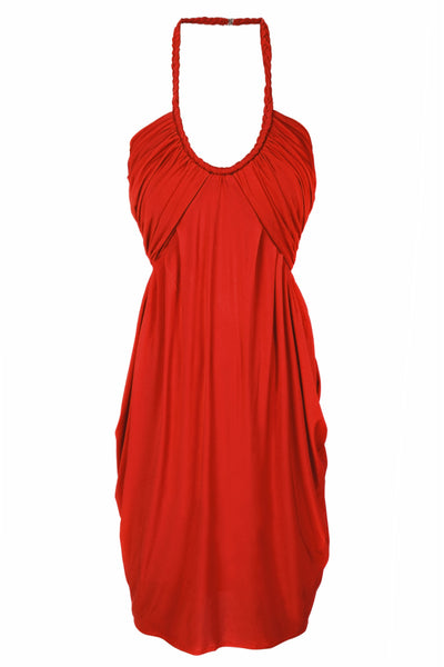 CARLOS MIELE DRAPED Red Halterneck Evening Dress