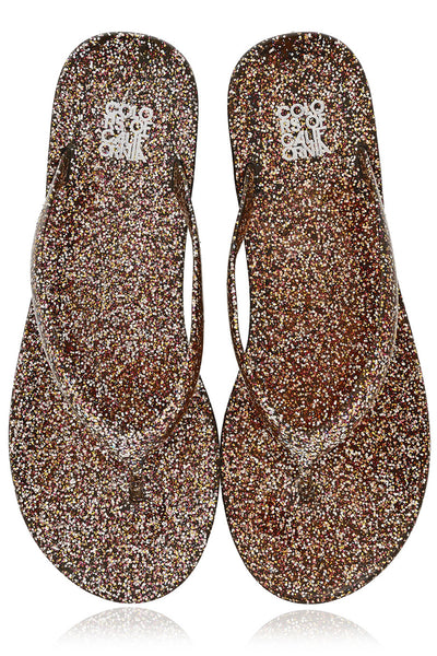 COLORS OF CALIFORNIA GLITTER Bronze Thong Flip Flops