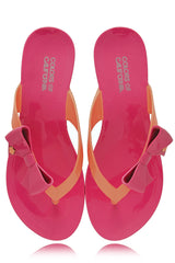 COLORS OF CALIFORNIA RIBBON Fuchsia Orange Flip Flops