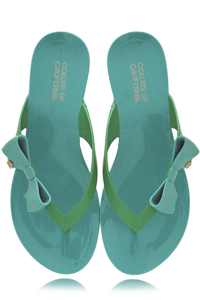 COLORS OF CALIFORNIA RIBBON Turquoise Green Flip Flops