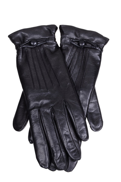 DEMI ISELIN Black Button Leather Women Gloves