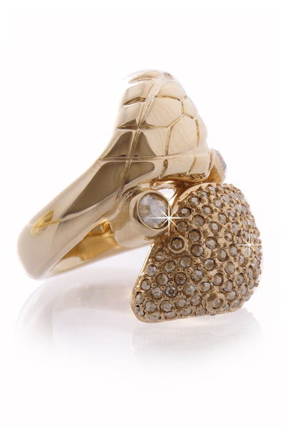 DIOR CRYPT Gold Serpent Crystal Cocktail Ring