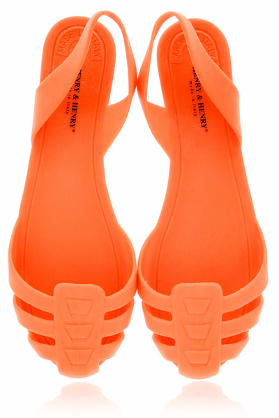 HENRY & HENRY MILA Orange Fluo Rubber Slingbacks