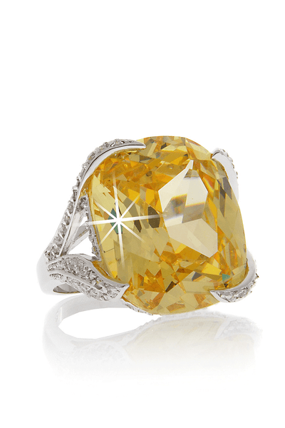 KENNETH JAY LANE CASSANDRA Yellow Crystal Cocktail Ring