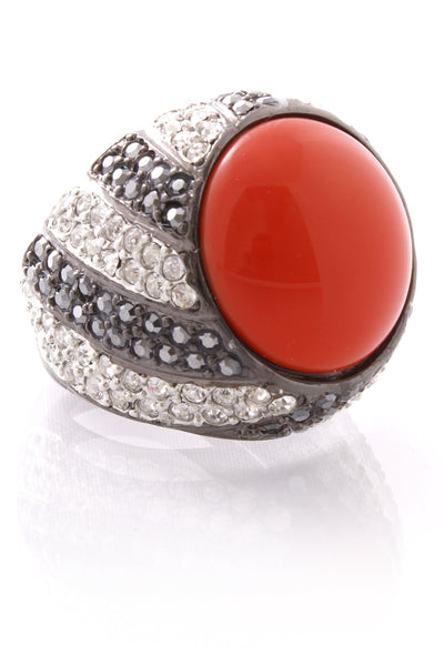 KENNETH JAY LANE Gunmetal And Argent Dark Coral Top Ring