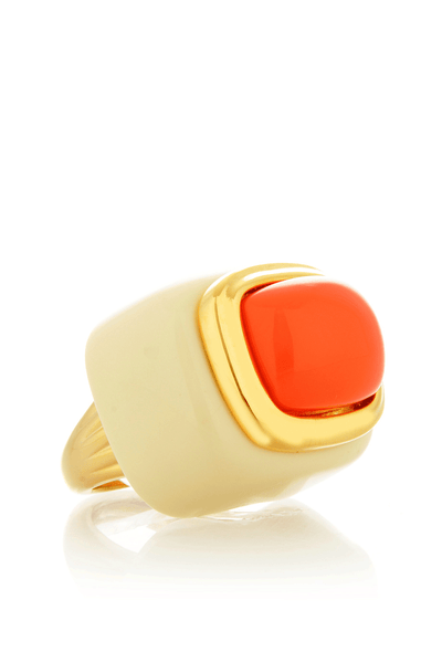 KENNETH JAY LANE Ivory Base Coral Square Cocktail Ring