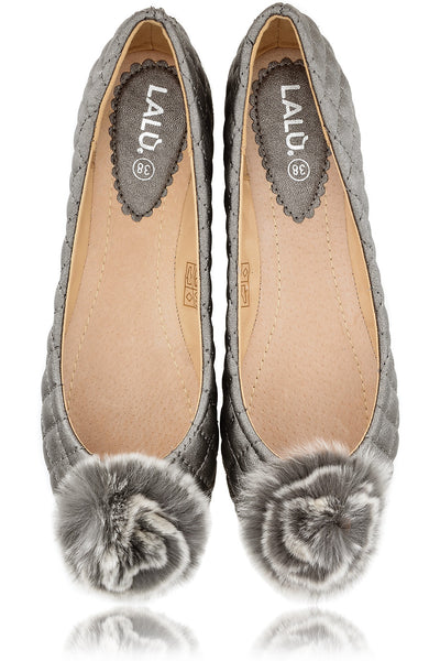 POPCORN Grey Quilted Ballerinas