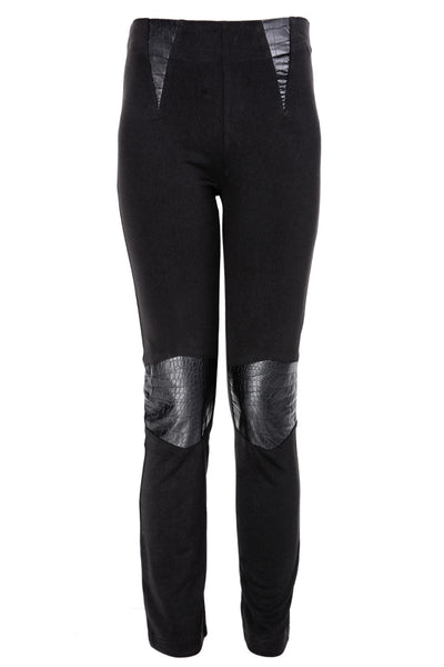 SAGE Black Pants with Leather Details
