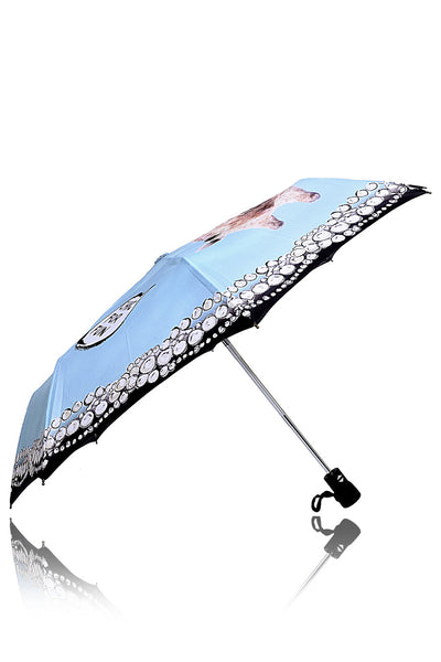 GIRAFFE IN PEARLS Light Blue Printed Umbrella