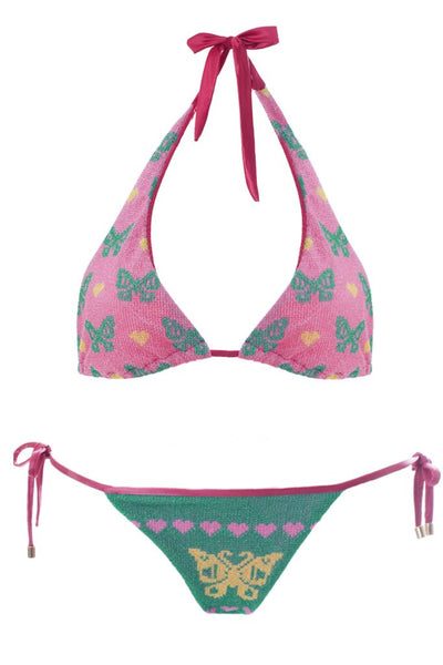 MITOS SWIMWEAR | BUTTERFLIES PINK Embroidered Bikini Set