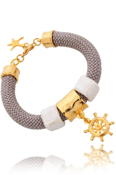 GOLD SAILOR Taupe Cord Bracelet