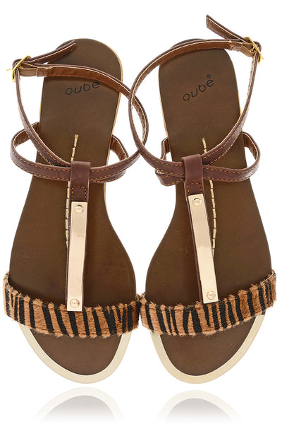 CEBRA Brown Animal Print Sandals