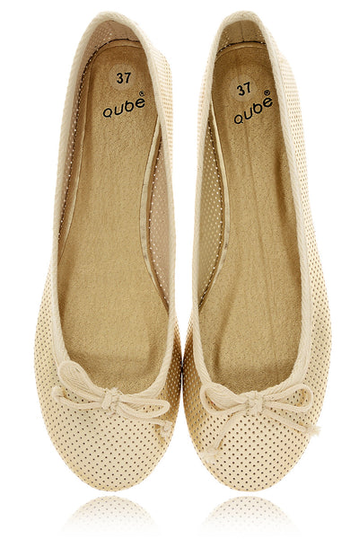 MABLE Gold Perforated Ballerinas