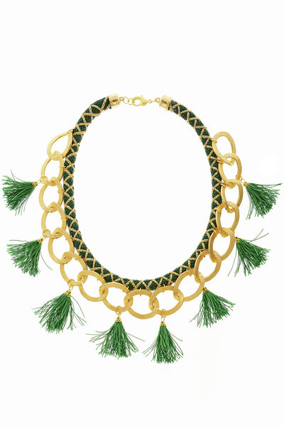 ARIELLE Green Chain Tassel Necklace