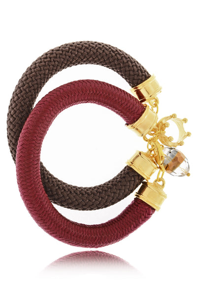 ΟLIN Brown Bordeaux Bracelets (set of 2)
