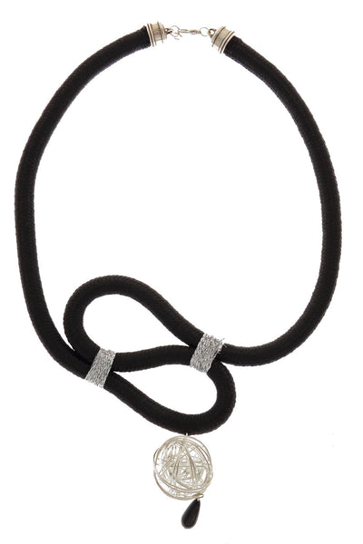 SILVER BALL Black Cord Necklace