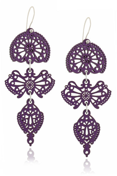 LEAVES Purple Wooden Earrings