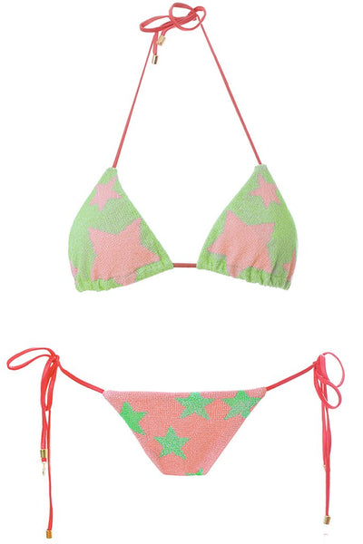MITOS SWIMWEAR | STARS Pink Embroidered Triangle Bikini Set