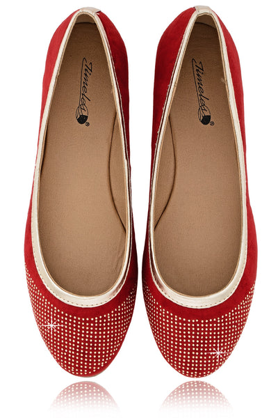 PRYIA Red Multi Studded Ballerinas