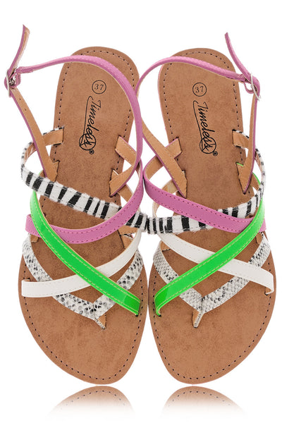 KRISTA Fuchsia Animal Print Sandals