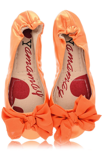 RIA Orange Patent Ballerinas
