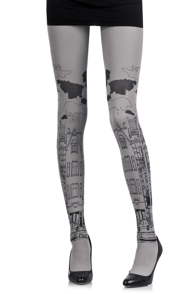ZOHARA NEIGHBORHOOD Grey Printed Tights