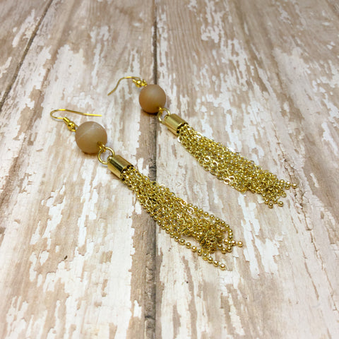 Peach Druzy and Bright Gold Tassel Fringe Boho Earrings - Dangle Earrings -Glam Geek