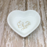Gold or Magenta Pink Fancy Love Heart Ring Dish - Ring Dish -Glam Geek
