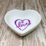 Magenta Pink or Gold Scroll Heart Love Heart Ring Dish - Ring Dish -Glam Geek