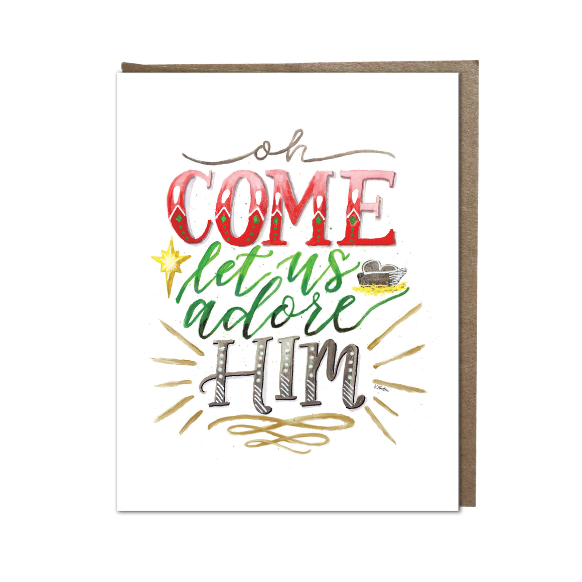 """O Come Let Us Adore Him"" card"