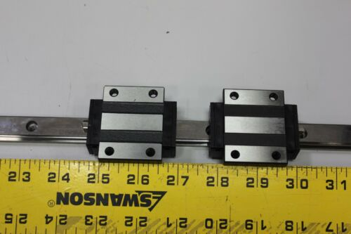 1 New PMI/AMT 336mm Linear Guide Rail With 2 Carriage Bearing Blocks MSB15E-N