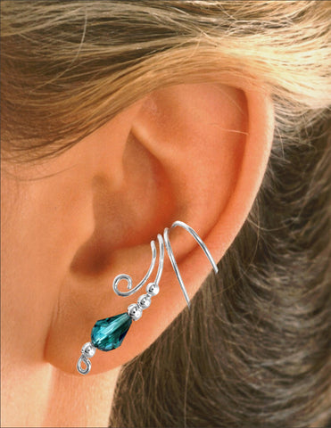 Teal Fire Polished Crystal Briolette Long Sterling Silver Ear Cuff Earrings