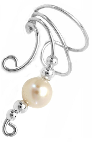 White Freshwater Cultured Pearl & Silver Beads Long Sterling Silver Ear Cuffs Earrings