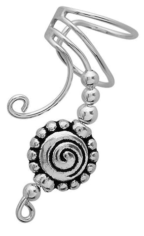 Pewter Beaded Spiral Long Sterling Silver Ear Cuffs Earrings