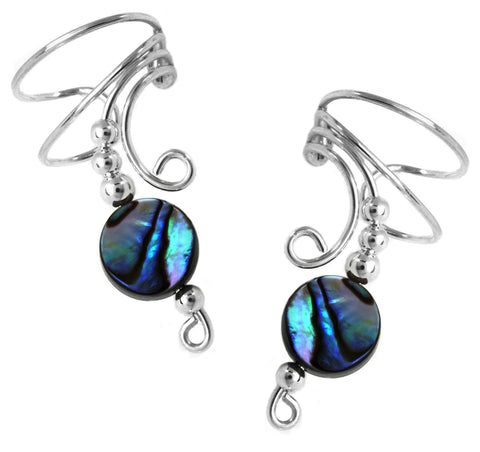 Abalone Silver Long Swirl Wave Non-Pierced Ear Cuff Earrings
