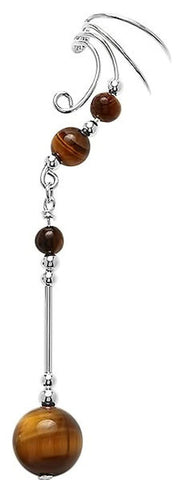 Tiger Eye Gem Ball Silver Non-pierced Long Dangle Wave Ear Cuff Earrings