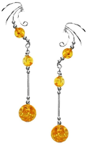 Amber 10mm Ball 1.5 Inch Drop Non-Pierced Sterling Silver Wave Ear Cuff Earrings