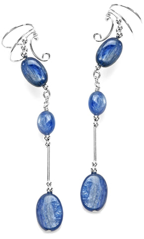 Blue Kynite Long Dangle Sterling Silver Swirl Wave Ear Cuff Earrings