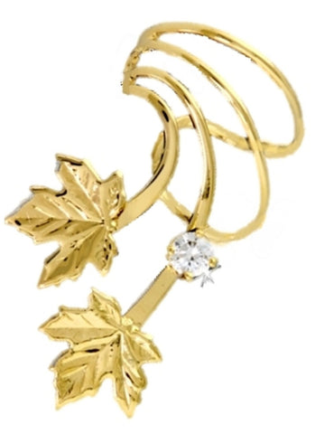 Maple Leaves 3mm CZ Gold on Silver Short Wave Ear Cuff Earrings