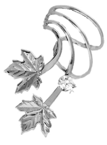 Maple Leaves & Cubic Zirconia Short Sterling Silver Ear Cuffs Earrings